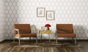 Modern interior of living room with two armchairs and side table 3d render