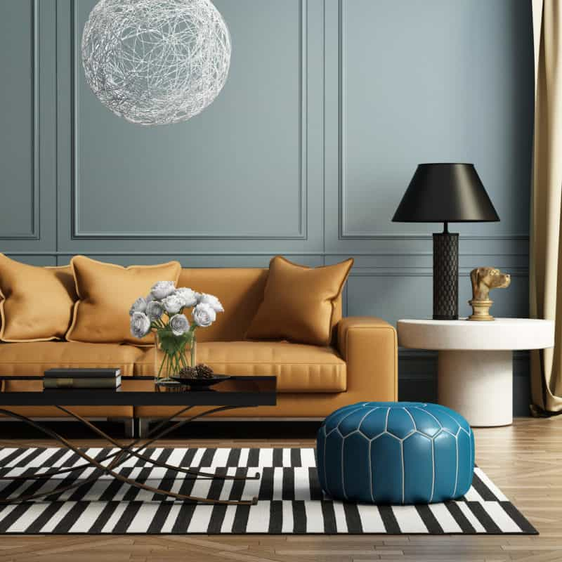 3d rendering of a contemporary luxury living room with leather sofa