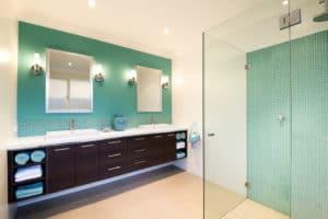 Bathroom Color Schemes Aqua, chocolate and white