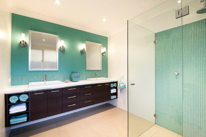 Bathroom Color Schemes Aqua, chocolate and white