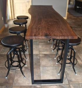 Reclaimed Wood Bar Height Table