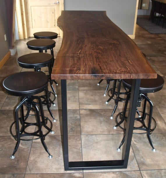 Reclaimed Wood Bar Height Table