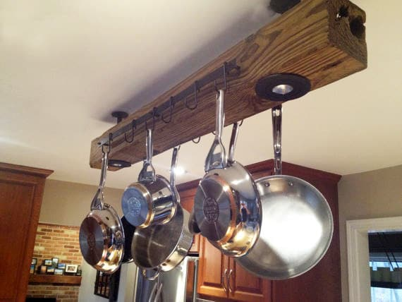 Reclaimed Wood Kitchen Pot Rack