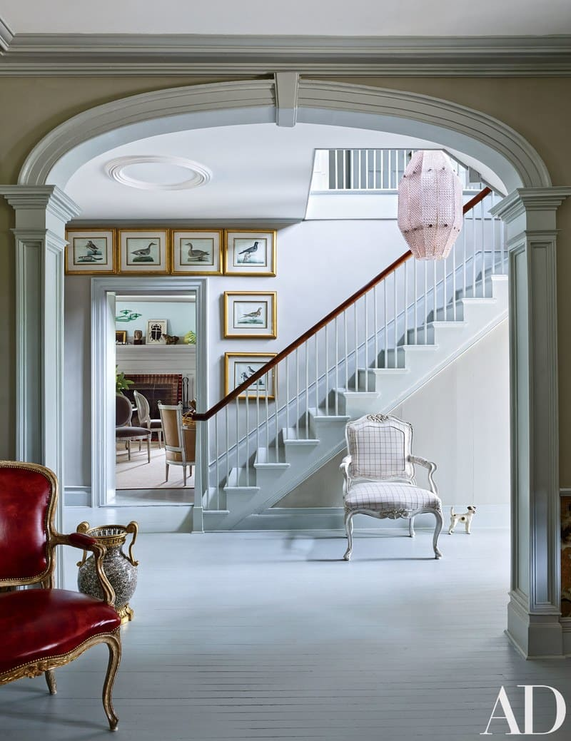 Elegant 18th-Century Farmhouse elegant stair hall